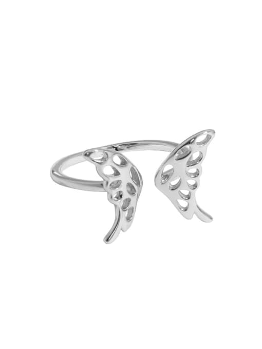 Platinum [14 adjustable] 925 Sterling Silver Butterfly Vintage Band Ring